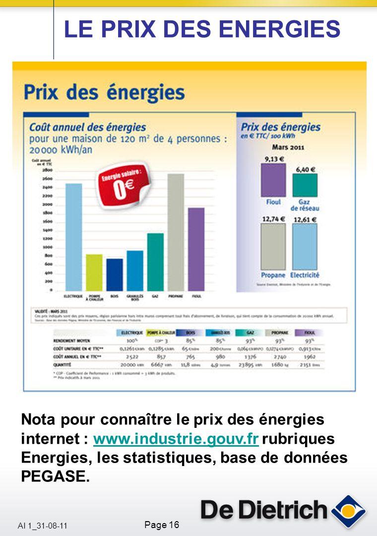 AI 1_31-08-11 Page 16 LE PRIX DES ENERGIES Nota pour connaître le prix des énergies internet : www.industrie.gouv.fr rubriques Energies, les statistiq