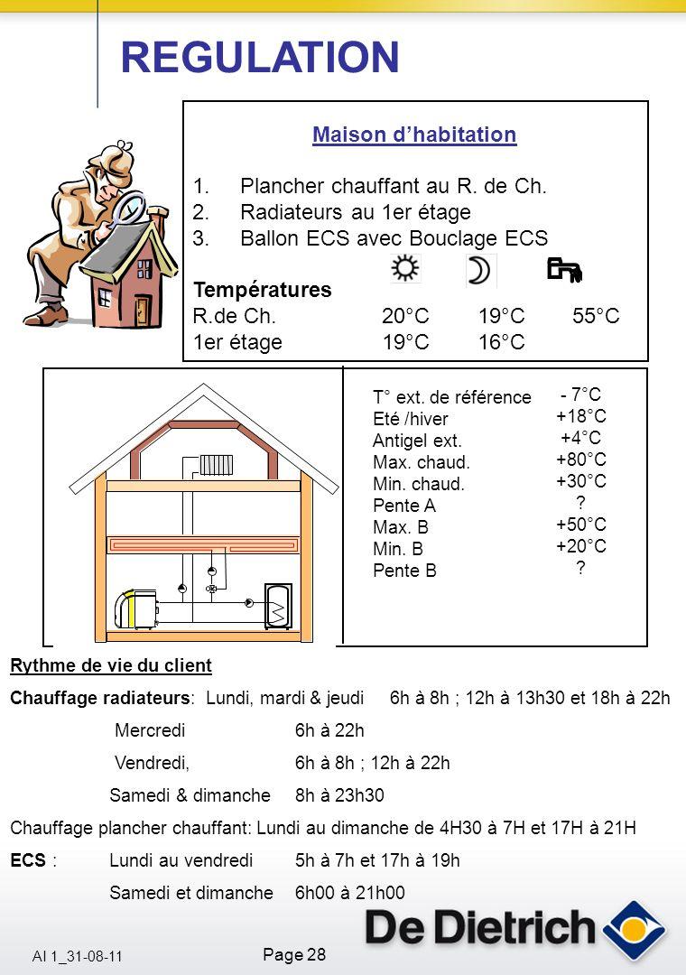 AI 1_31-08-11 Page 28 Maison dhabitation 1.Plancher chauffant au R. de Ch. 2.Radiateurs au 1er étage 3.Ballon ECS avec Bouclage ECS Températures R.de