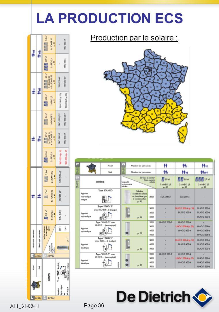 AI 1_31-08-11 Page 36 Production par le solaire : LA PRODUCTION ECS