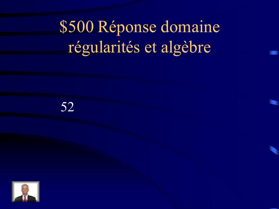 $500 Question domaine régularités et algèbre Évalue lexpression algébrique 9a + 7 si a= 5
