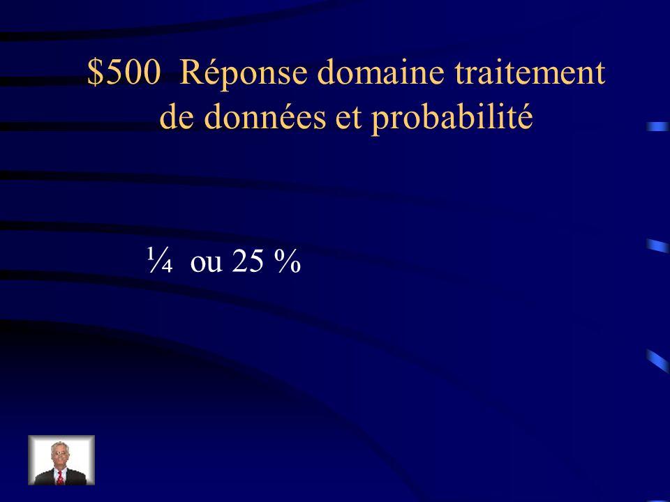 $500 Question domaine traitement de données et probabilité François lance deux fois un dé Numéroté de 1 à 6. Détermine la probabilité dobtenir deux no