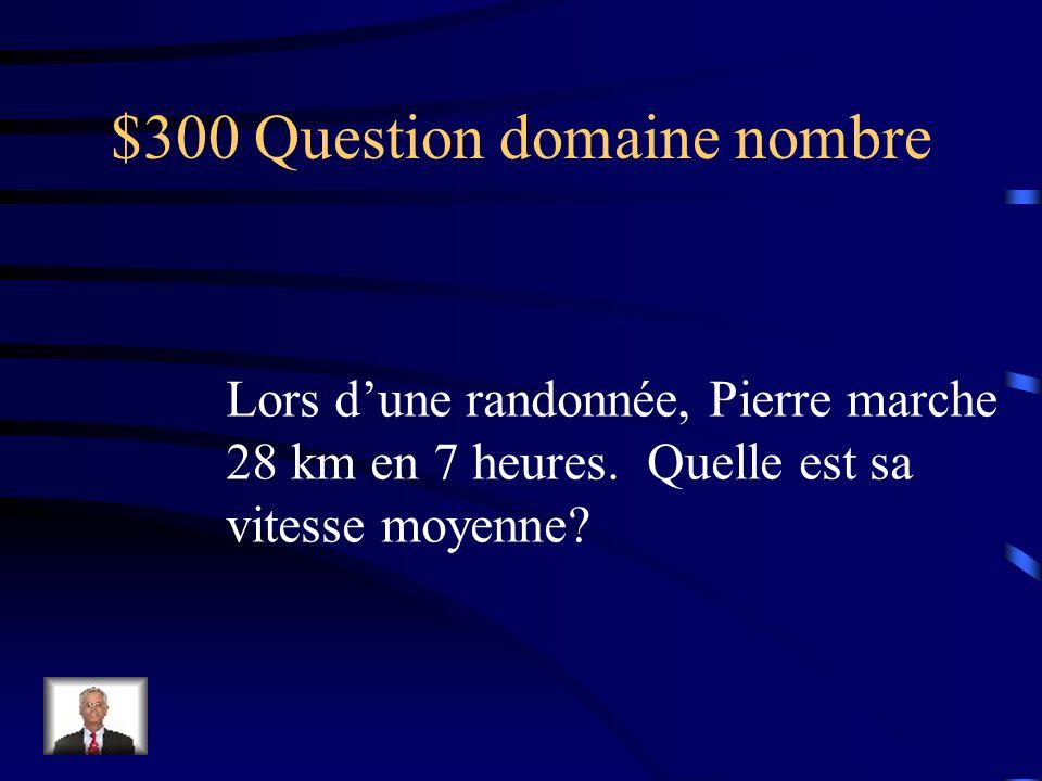 $300 Question domaine traitement de données et probabilité Un dé ordinaire est numéroté de 1 à 6.