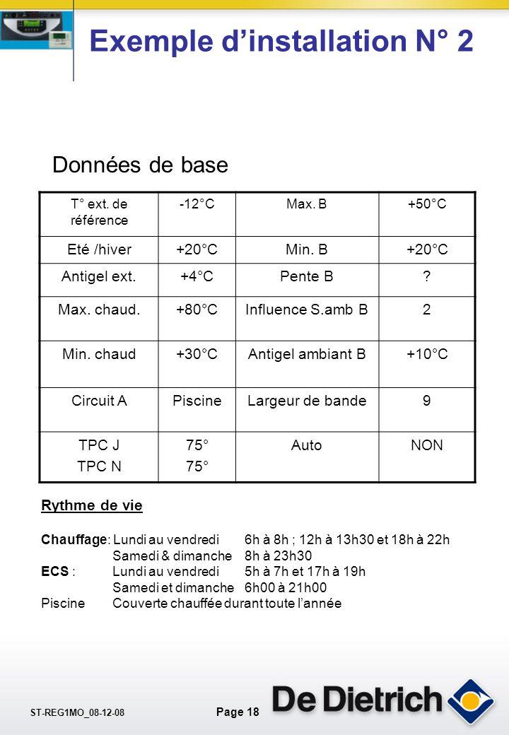 ST-REG1MO_08-12-08 Page 17 Exemple dinstallation N°2 Nouvelle maison avec GTU 125 Diematic: 1.Plancher chauffant au R. de Ch. 2.Piscine chauffée par l