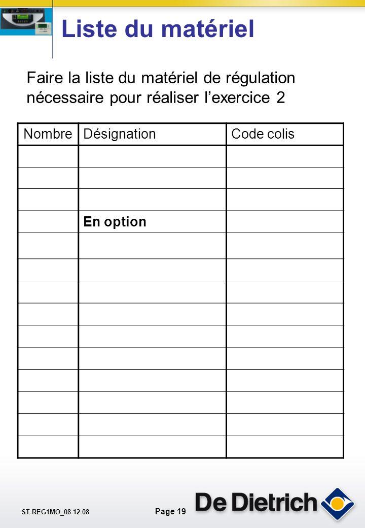 ST-REG1MO_08-12-08 Page 18 Exemple dinstallation N° 2 Rythme de vie Chauffage: Lundi au vendredi 6h à 8h ; 12h à 13h30 et 18h à 22h Samedi & dimanche8