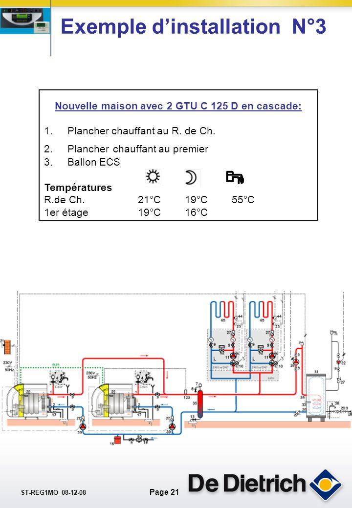 ST-REG1MO_08-12-08 Page 20 La pente de chauffe Comment définir la pente ? T° départ T° extérieure Circuit B (C) : plancher chauffant = 40°C / 30°C T°