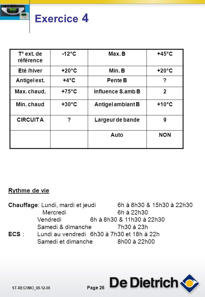 ST-REG1MO_08-12-08 Page 25 Exercice 4 Nouvelle maison avec GTU 125 B300/2 1.Appartement Radiateur chaleur douce 2.Ballon B 300/2 avec panneaux solaire