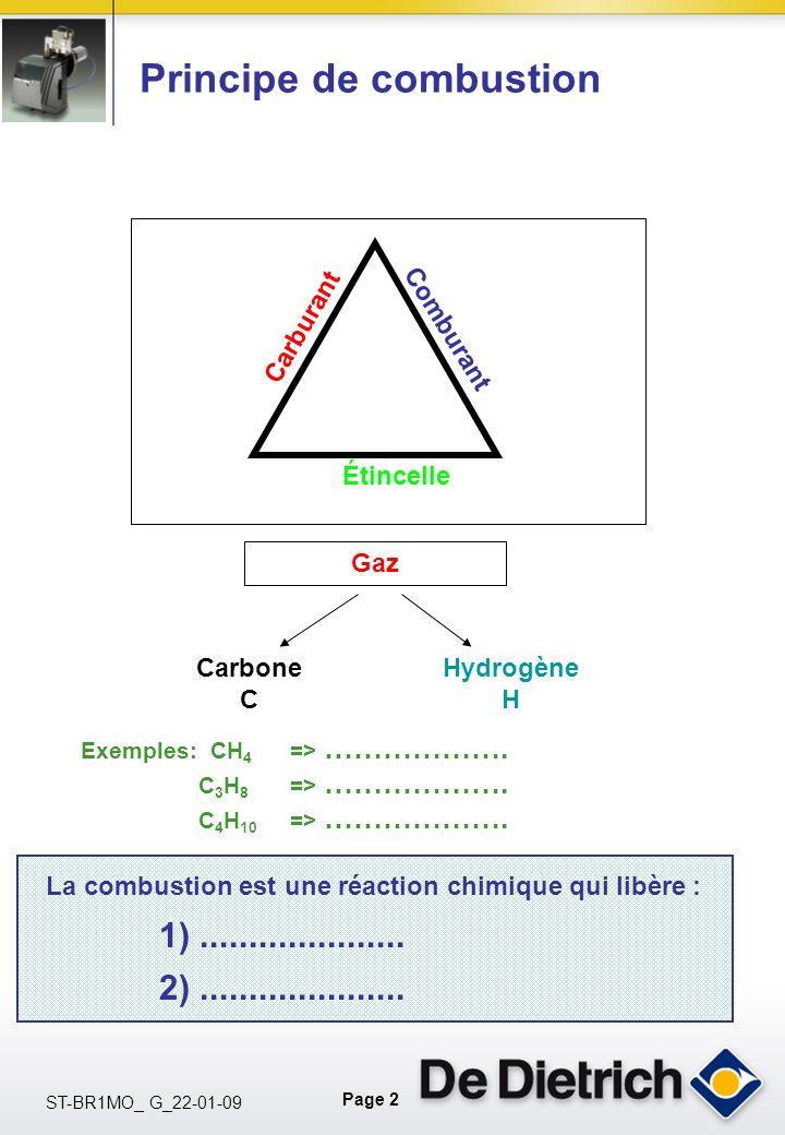 Page 2 ST-BR1MO_ G_22-01-09 Principe de combustion Carburant Étincelle Comburant Gaz Carbone C Hydrogène H La combustion est une réaction chimique qui libère : 1).....................