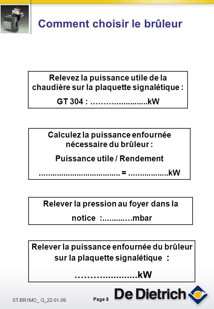 Page 8 ST-BR1MO_ G_22-01-09 Relevez la puissance utile de la chaudière sur la plaquette signalétique : GT 304 : ………...............kW Calculez la puiss