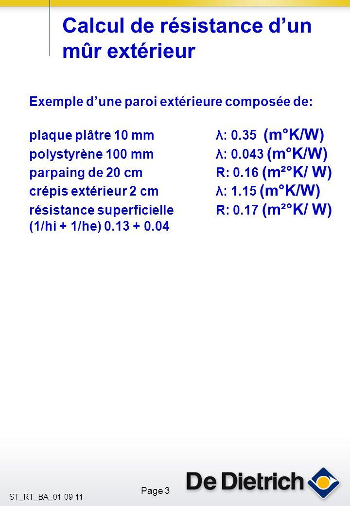Page 3 ST_RT_BA_01-09-11 Calcul de résistance dun mûr extérieur Exemple dune paroi extérieure composée de: plaque plâtre 10 mmλ: 0.35 (m°K/W) polystyrène 100 mm λ: 0.043 (m°K/W) parpaing de 20 cmR: 0.16 (m²°K/ W) crépis extérieur 2 cm λ: 1.15 (m°K/W) résistance superficielleR: 0.17 (m²°K/ W) (1/hi + 1/he) 0.13 + 0.04