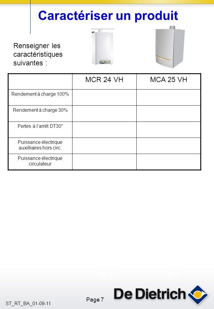 Page 7 ST_RT_BA_01-09-11 Caractériser un produit Renseigner les caractéristiques suivantes : MCR 24 VHMCA 25 VH Rendement à charge 100% Rendement à charge 30% Pertes à larrêt DT30° Puissance électrique auxilliaires hors circ.