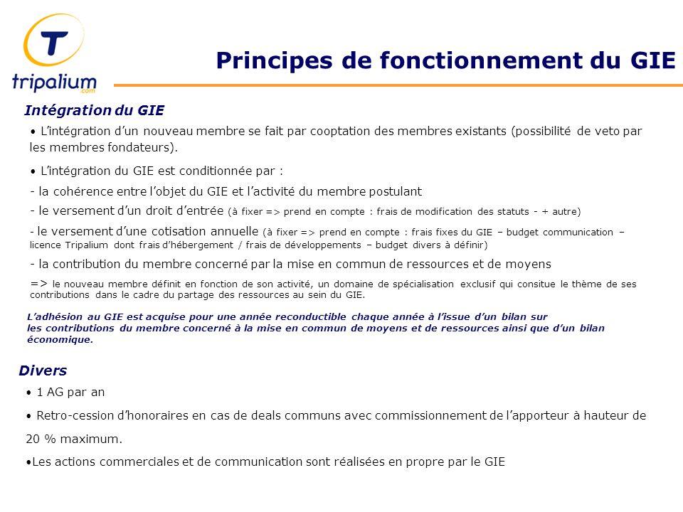 Principes de fonctionnement du GIE 1 AG par an Retro-cession dhonoraires en cas de deals communs avec commissionnement de lapporteur à hauteur de 20 % maximum.