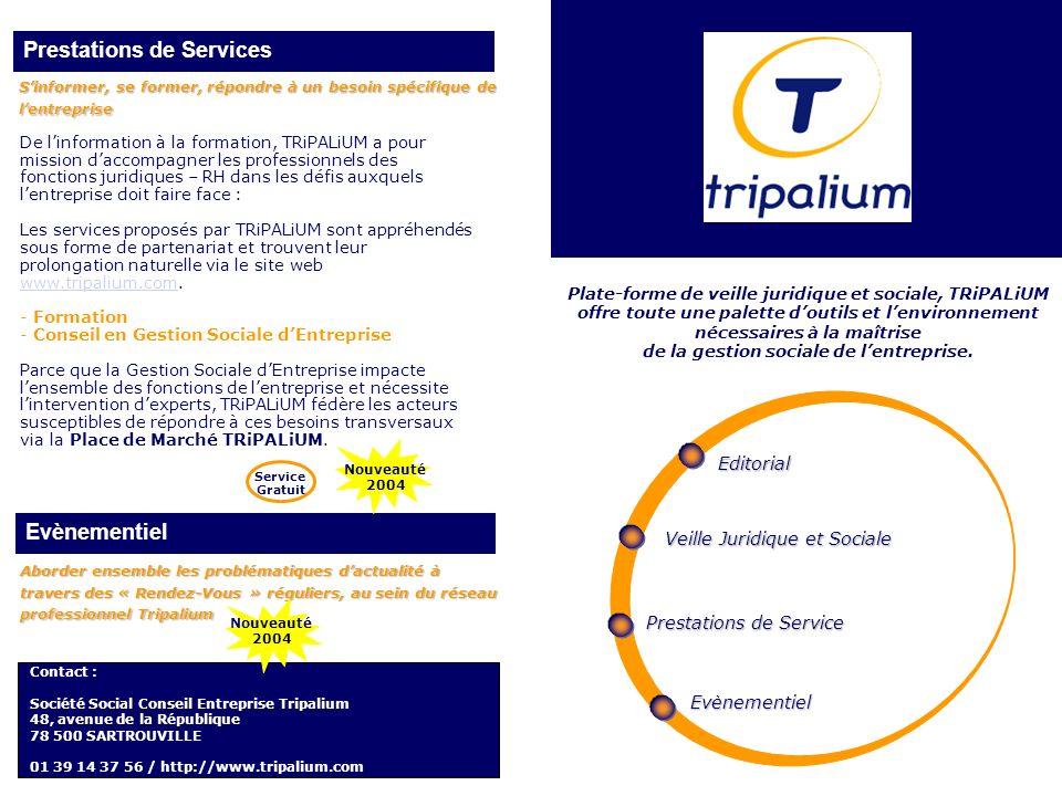Prestations de Services Plate-forme de veille juridique et sociale, TRiPALiUM offre toute une palette doutils et lenvironnement nécessaires à la maîtr