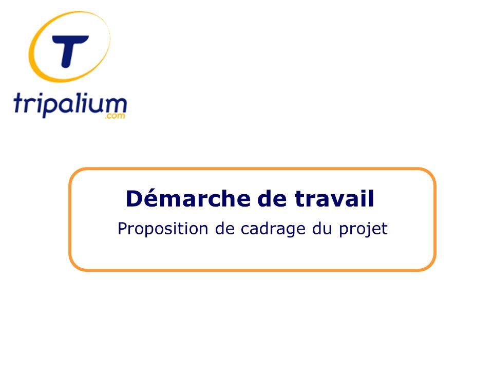 Démarche de travail Proposition de cadrage du projet