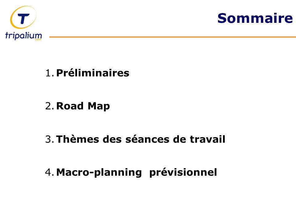 1.Préliminaires 2.Road Map 3.Thèmes des séances de travail 4.Macro-planning prévisionnel Sommaire