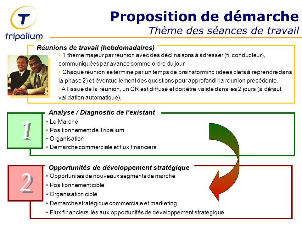 Proposition de démarche Thème des séances de travail 1 1 2 2 Opportunités de développement stratégique Le Marché Positionnement de Tripalium Organisat