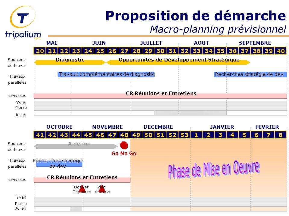 Proposition de démarche Macro-planning prévisionnel 202122232425262728293031323334353637383940 MAIJUINJUILLETAOUTSEPTEMBRE DiagnosticOpportunités de D