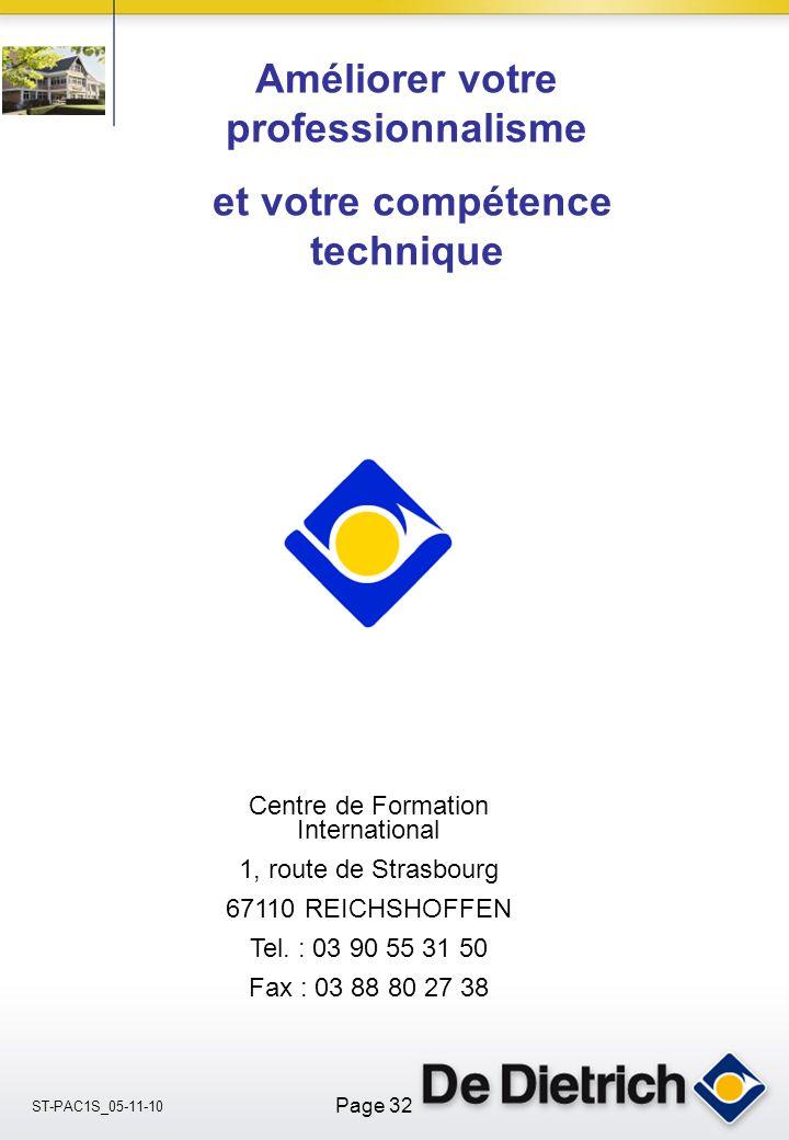ST-PAC1S_05-11-10 Page 32 Centre de Formation International 1, route de Strasbourg 67110 REICHSHOFFEN Tel.