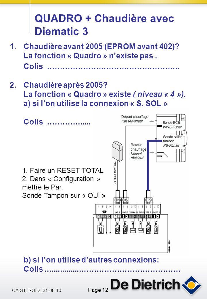 CA-ST_SOL2_31-08-10 Page 12 QUADRO + Chaudière avec Diematic 3 1.Chaudière avant 2005 (EPROM avant 402)? La fonction « Quadro » nexiste pas. Colis ………