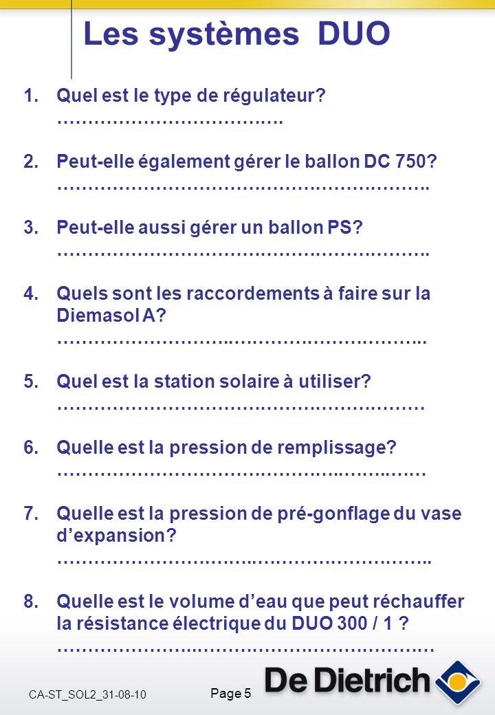CA-ST_SOL2_31-08-10 Page 5 Les systèmes DUO 1.Quel est le type de régulateur? ………………………………. 2.Peut-elle également gérer le ballon DC 750? ………………………………
