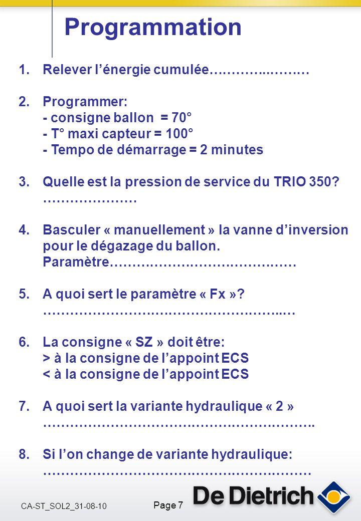 CA-ST_SOL2_31-08-10 Page 7 Programmation 1.Relever lénergie cumulée…………..……… 2.Programmer: - consigne ballon = 70° - T° maxi capteur = 100° - Tempo de