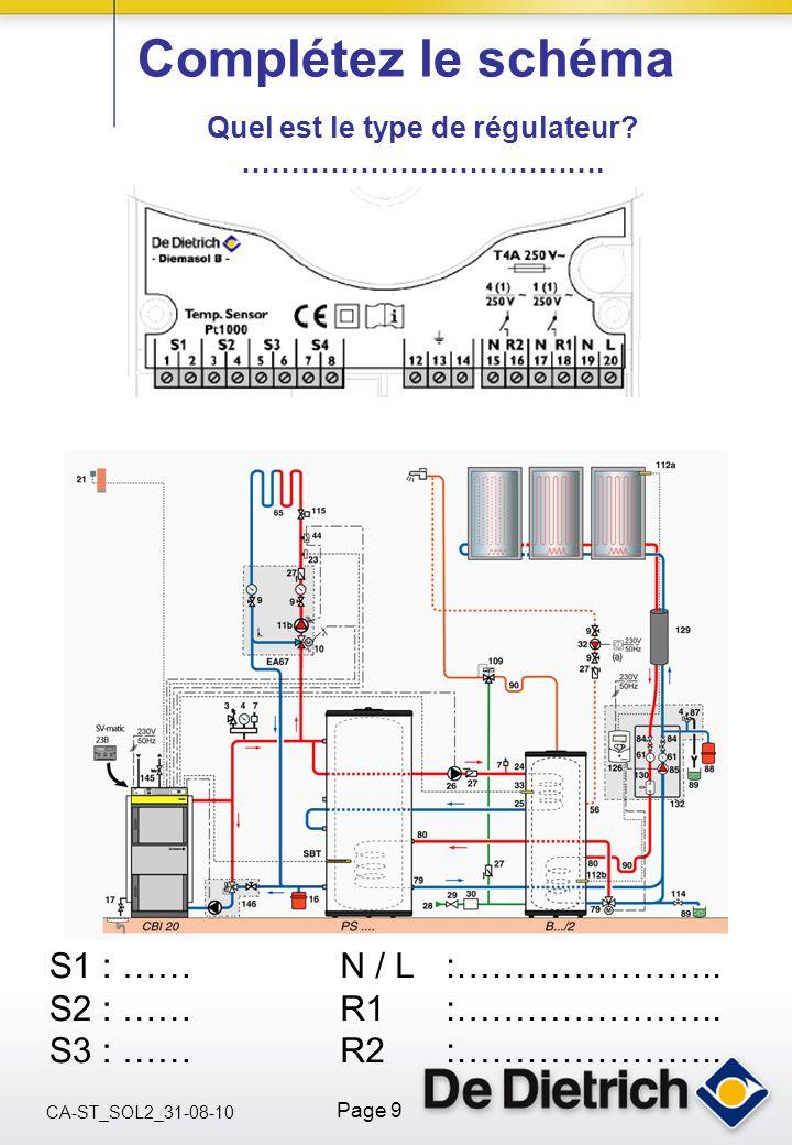 CA-ST_SOL2_31-08-10 Page 9 Complétez le schéma Quel est le type de régulateur? ………………………………. S1 : …… S2 : …… S3 : …… N / L :………………….. R1 :………………….. R2