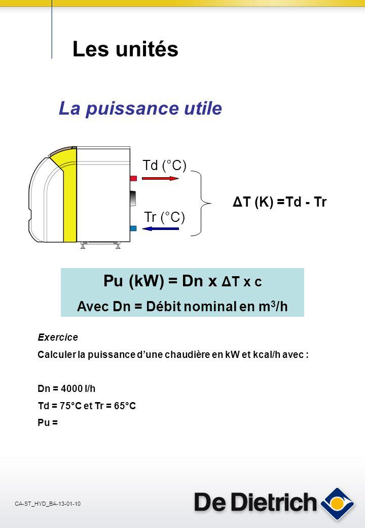 CA-ST_HYD_BA-13-01-10 Les unités Les grandeurs physiques Le débit : Q en m 3 /h Le débit en volume Q dun liquide est le volume de liquide qui traverse une section d un tuyau pendant l unité de temps.