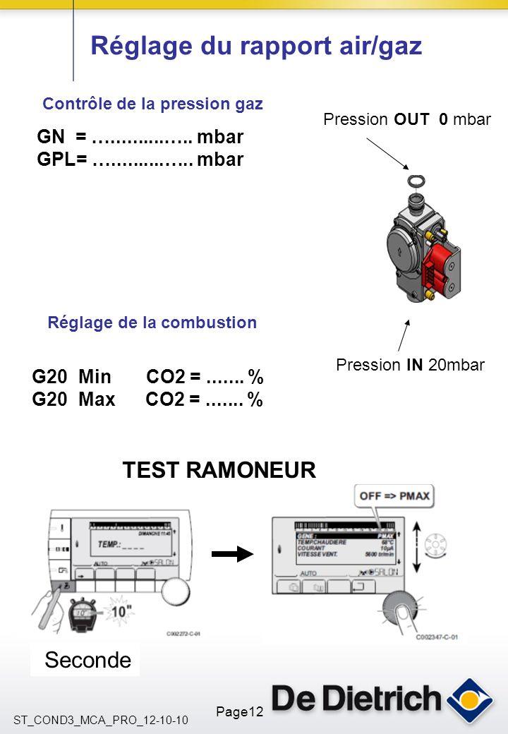 ST_COND3_MCA_PRO_12-10-10 Page12 Réglage du rapport air/gaz Contrôle de la pression gaz Réglage de la combustion GN = …..........….. mbar GPL= …......