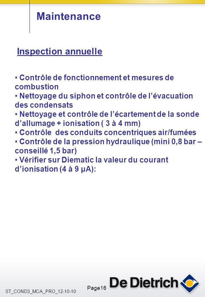 ST_COND3_MCA_PRO_12-10-10 Page16 Maintenance Inspection annuelle Contrôle de fonctionnement et mesures de combustion Nettoyage du siphon et contrôle d