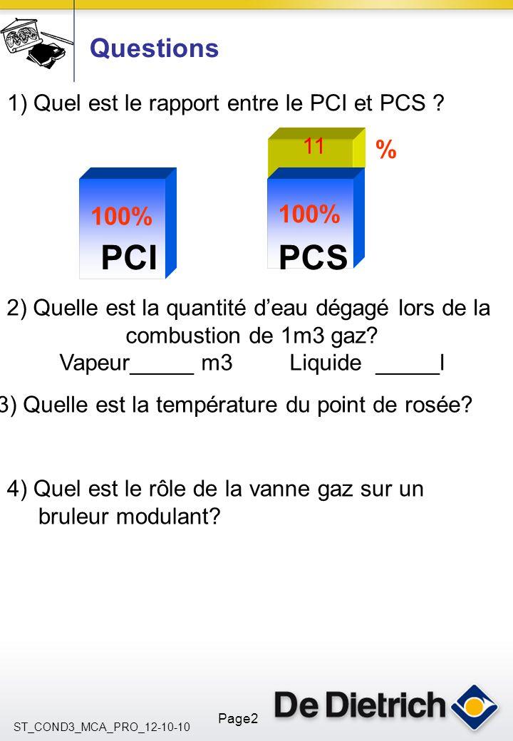 ST_COND3_MCA_PRO_12-10-10 Page2 Questions 100% % PCIPCS 1) Quel est le rapport entre le PCI et PCS ? 2) Quelle est la quantité deau dégagé lors de la