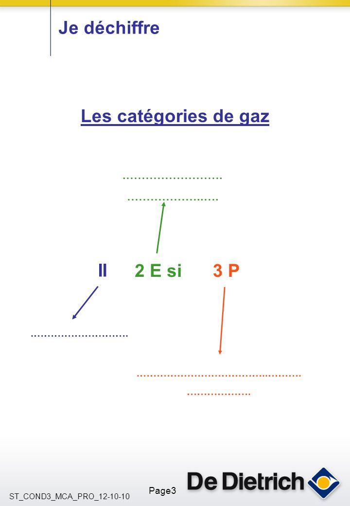 ST_COND3_MCA_PRO_12-10-10 Page3.……………………. ………………..…. Je déchiffre II.………………………………..………. ………………. Les catégories de gaz 2 E si3 P.……………………….