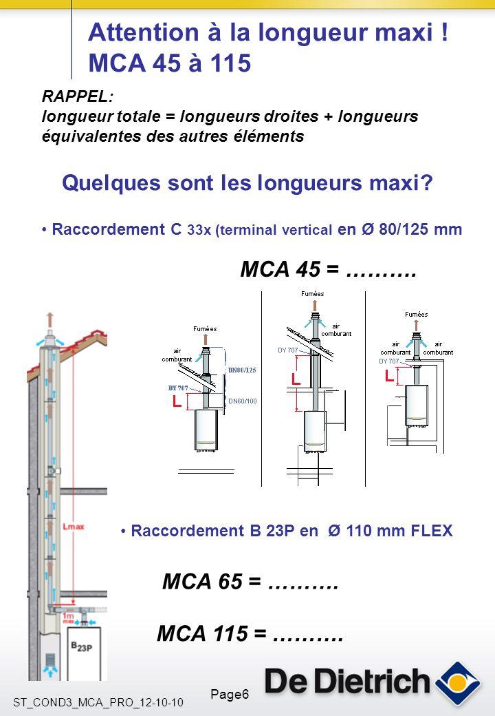 ST_COND3_MCA_PRO_12-10-10 Page6 Attention à la longueur maxi ! MCA 45 à 115 Raccordement C 33x (terminal vertical en Ø 80/125 mm Raccordement B 23P en