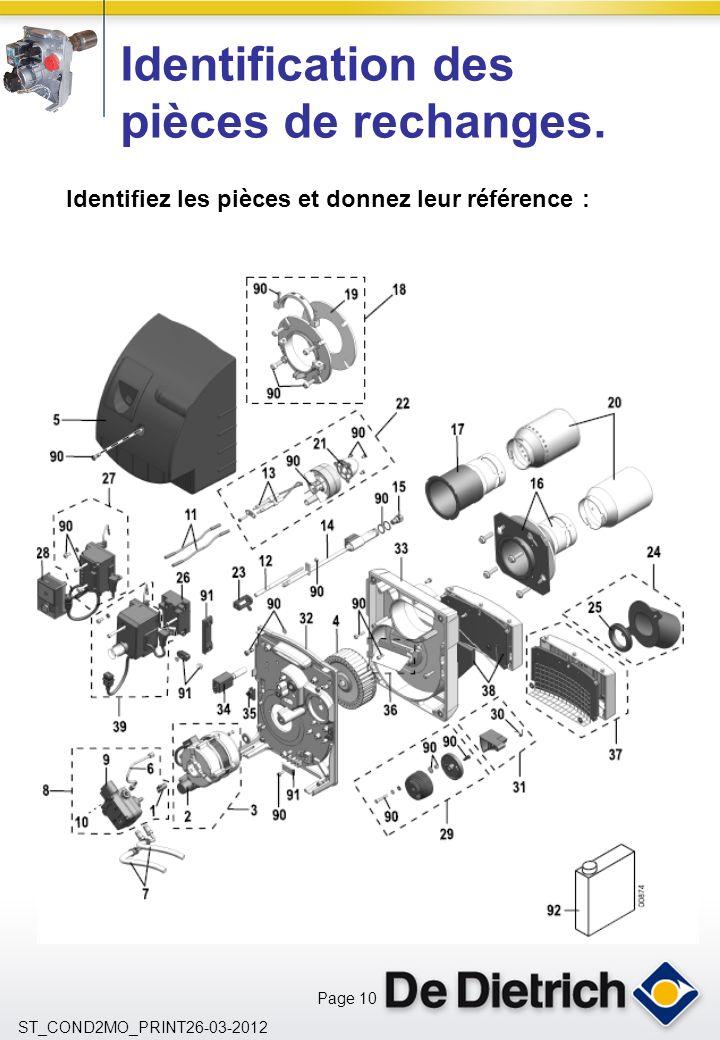 Page 10 ST_COND2MO_PRINT26-03-2012 Identifiez les pièces et donnez leur référence : Identification des pièces de rechanges.