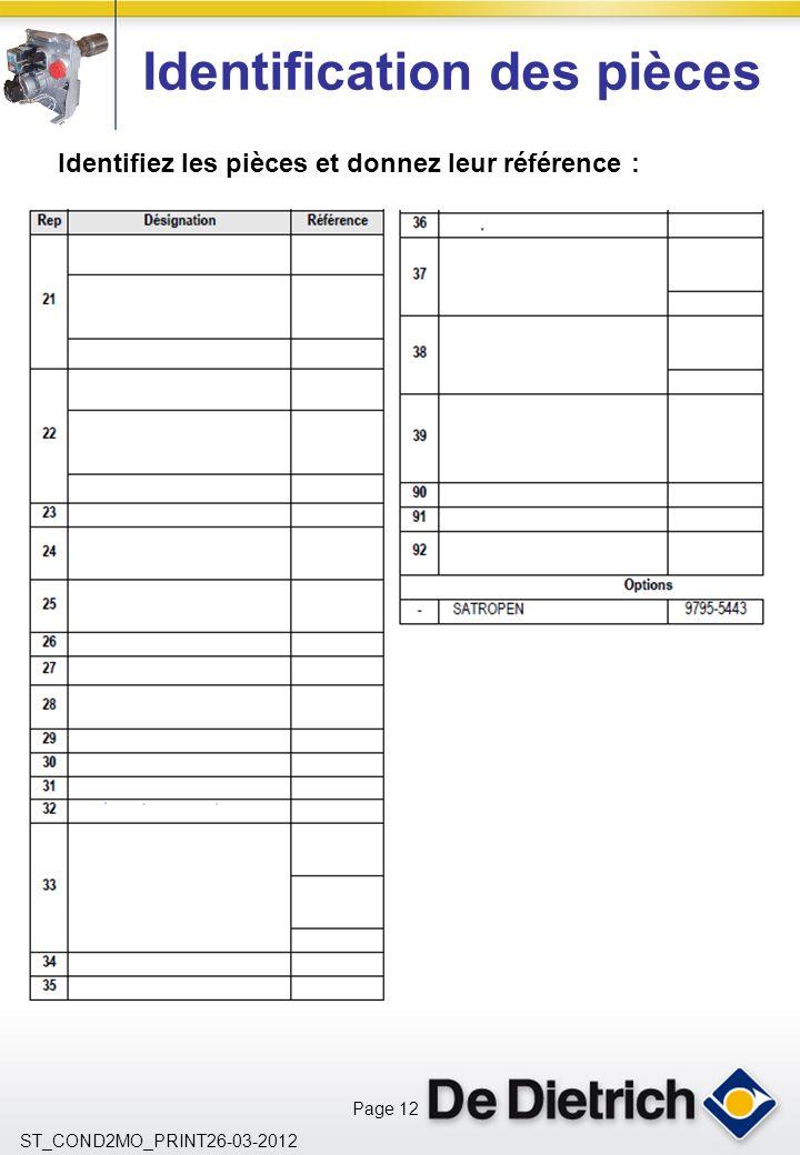 Page 12 ST_COND2MO_PRINT26-03-2012 Identification des pièces Identifiez les pièces et donnez leur référence :