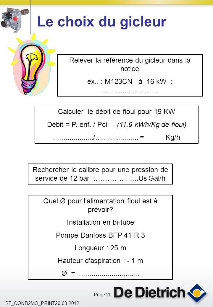 Page 20 ST_COND2MO_PRINT26-03-2012 Le choix du gicleur Relever la référence du gicleur dans la notice ex..