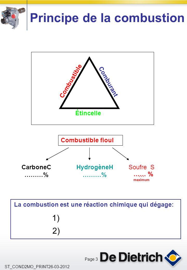 Page 3 ST_COND2MO_PRINT26-03-2012 1) 2) Principe de la combustion CarboneC ………% HydrogèneH ………% Soufre S … La combustion est une réaction chimique qui dégage: Combustible Étincelle Comburant Combustible fioul …… % maximum