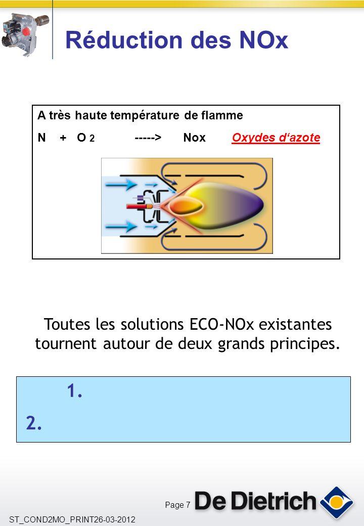 Page 7 ST_COND2MO_PRINT26-03-2012 A très haute température de flamme N + O 2 ----->NoxOxydes dazote Réduction des NOx Toutes les solutions ECO-NOx existantes tournent autour de deux grands principes.