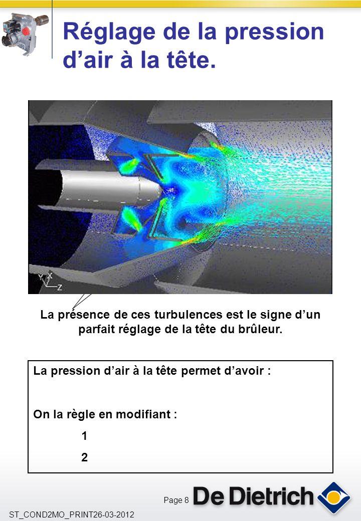 Page 8 ST_COND2MO_PRINT26-03-2012 Réglage de la pression dair à la tête. La pression dair à la tête permet davoir : On la règle en modifiant : 1 2 La