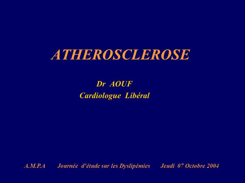 ATHEROSCLEROSE Dr AOUF Cardiologue Libéral A.M.P.A Journée détude sur les Dyslipémies Jeudi 07 Octobre 2004