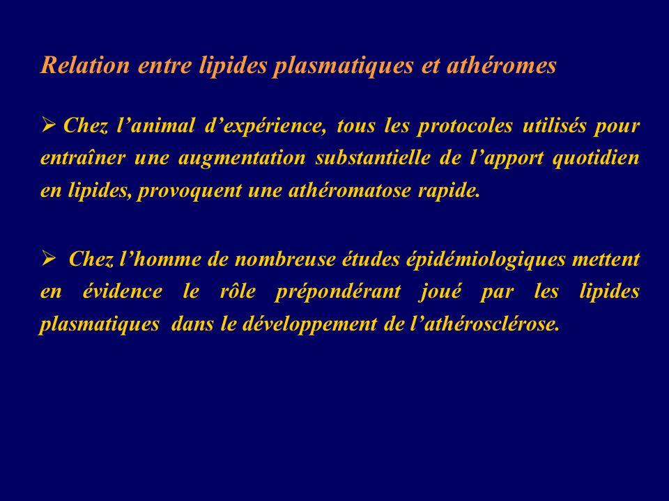 Relation entre lipides plasmatiques et athéromes Chez lanimal dexpérience, tous les protocoles utilisés pour entraîner une augmentation substantielle