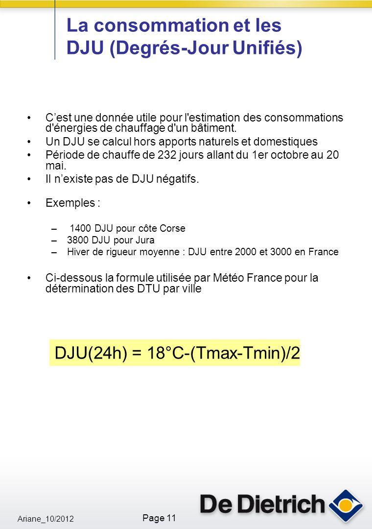 Ariane_10/2012 Page 11 La consommation et les DJU (Degrés-Jour Unifiés) Cest une donnée utile pour l estimation des consommations d énergies de chauffage d un bâtiment.