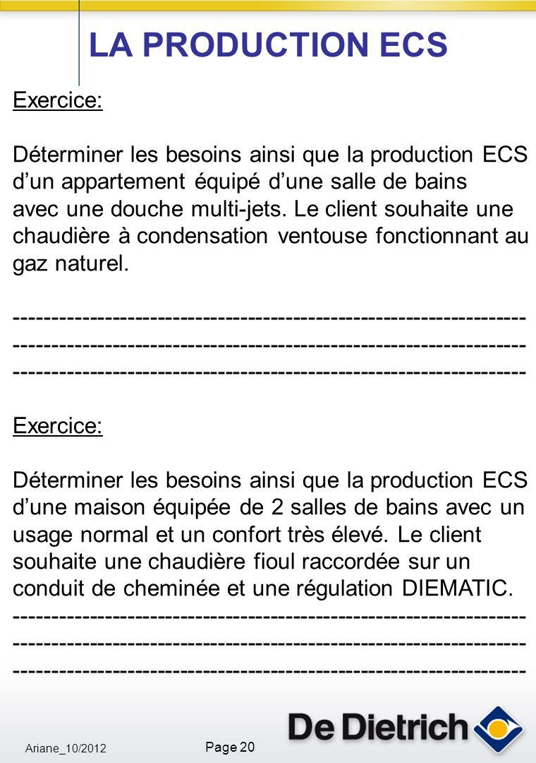 Ariane_10/2012 Page 20 Exercice: Déterminer les besoins ainsi que la production ECS dun appartement équipé dune salle de bains avec une douche multi-jets.