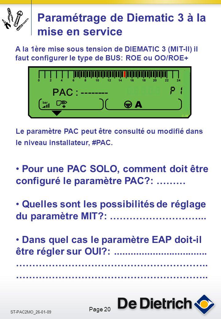 ST-PAC2MO_26-01-09 Page 20 Pour une PAC SOLO, comment doit être configuré le paramètre PAC?: ……… Quelles sont les possibilités de réglage du paramètre