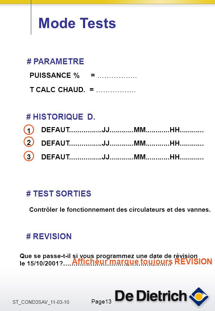 ST_COND3SAV_11-03-10 Page13 Mode Tests # HISTORIQUE D. DEFAUT................JJ............MM............HH............ 2 3 # TEST SORTIES # PARAMETRE