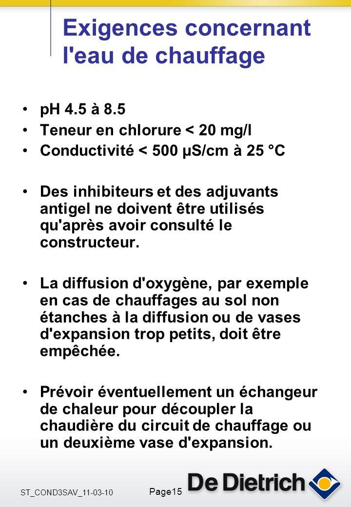 ST_COND3SAV_11-03-10 Page15 Exigences concernant l'eau de chauffage pH 4.5 à 8.5 Teneur en chlorure < 20 mg/l Conductivité < 500 μS/cm à 25 °C Des inh