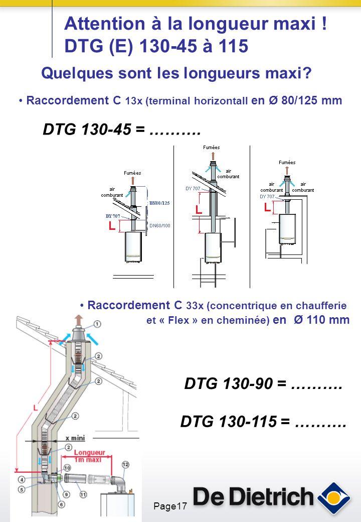 ST_COND3SAV_11-03-10 Page17 Attention à la longueur maxi ! DTG (E) 130-45 à 115 Raccordement C 13x (terminal horizontall en Ø 80/125 mm Raccordement C