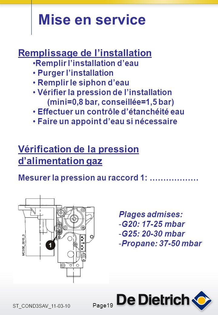 ST_COND3SAV_11-03-10 Page19 Mise en service Remplissage de linstallation Remplir linstallation deau Purger linstallation Remplir le siphon deau Vérifi