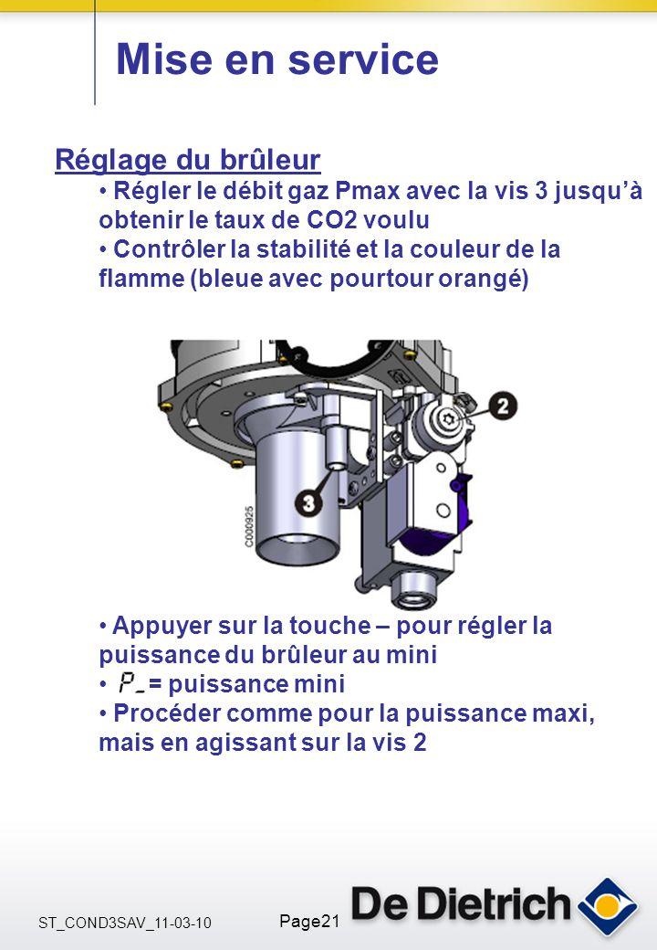 ST_COND3SAV_11-03-10 Page21 Mise en service Réglage du brûleur Régler le débit gaz Pmax avec la vis 3 jusquà obtenir le taux de CO2 voulu Contrôler la