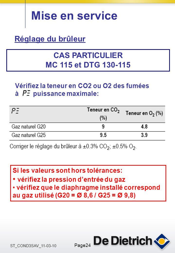 ST_COND3SAV_11-03-10 Page24 Mise en service Réglage du brûleur CAS PARTICULIER MC 115 et DTG 130-115 Si les valeurs sont hors tolérances: vérifiez la