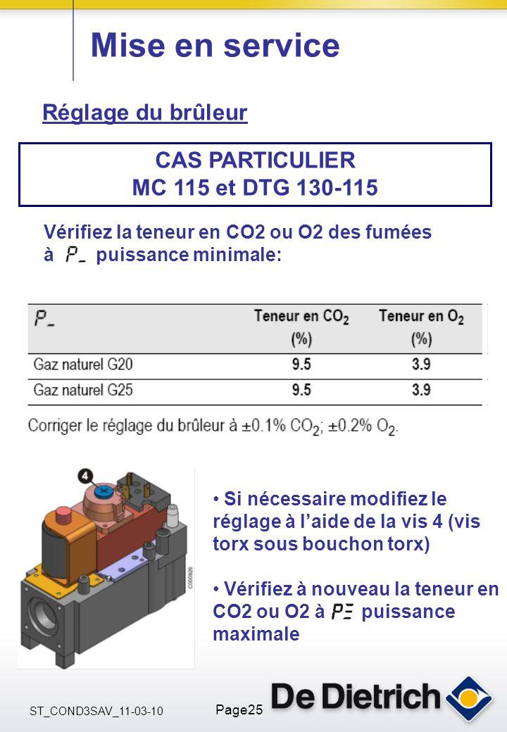 ST_COND3SAV_11-03-10 Page25 Mise en service Réglage du brûleur CAS PARTICULIER MC 115 et DTG 130-115 Vérifiez la teneur en CO2 ou O2 des fumées à puis