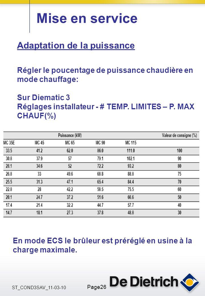 ST_COND3SAV_11-03-10 Page26 Mise en service Adaptation de la puissance Régler le poucentage de puissance chaudière en mode chauffage: Sur Diematic 3 R